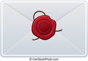 Envelope With Wax Seal - white letter with red wax seal in...