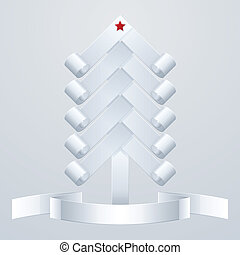 Fir-Tree Object - white paper Christmas tree with a red star...