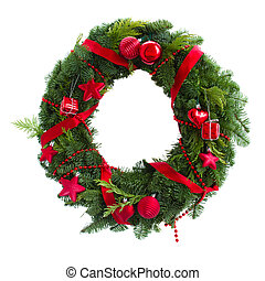 green christmas wreath with red decorations - green...