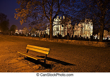 Lonesome bench - lonesome bench with the illuminated Melrose...