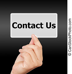 man hand touching button contact us keyword.
