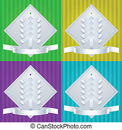 Paper Fir-Tree. Christmas Greeting Cards