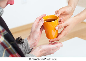Care for sick person - Helpful person is caring for sick...
