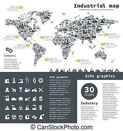 Industrial map - Industrial collection for design A vector...