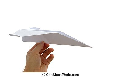 Plane - Paper plane in a hand isolated on white