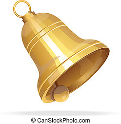 Golden Christmas bell on white background - Vector gold...