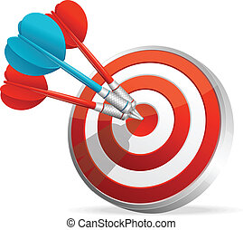 Dartboard with colorful darts Hitting A Target -...