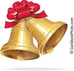 Jingle bells with red bow on white background - Vector gold...