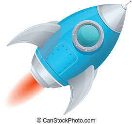 Comic cartoon rocket space ship blue - Cartoon retro iron...