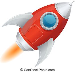 cômico, caricatura, foguete, espaço, navio