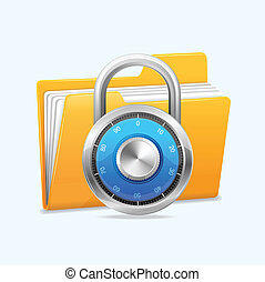 Yellow computer folder and combination lock. Data security...