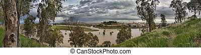 Panoramic from San Cristobal fort - Overlow guadiana river...