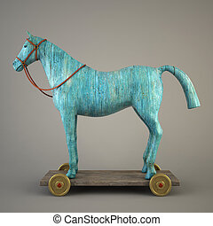 Blue wood horse (symbol of the new year 2014)