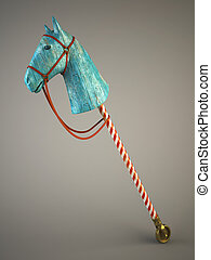 Blue wood horse on stick symbol of the new year 2014 3d