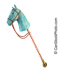Blue wood horse on stick isolated on white background symbol...