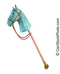 Blue wood horse on stick isolated on white background...