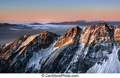 Beautiful sunrise in winter Tatra mountain - Slovakia