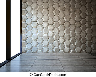 Empty room with stone wall and parquet floor 3D