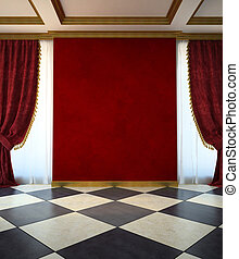 Red unfurnished room in classic style 3d