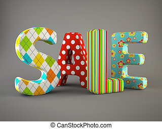 Sale word fabric on grey background 3D