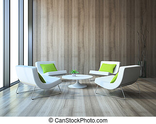 Modern interior with four armchairs and coffee table 3d...