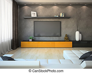 Modern interior with orange cabinet and TV