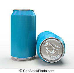 Blue aluminum cans on white background 3D