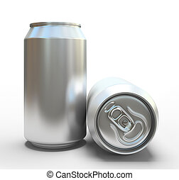 Blank aluminum cans on white background