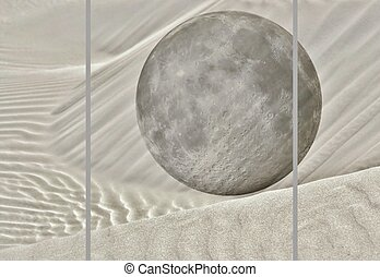 Full Moon - Landscape collage with migrating white sand dune...