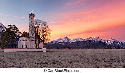 St. Coloman church at sunrise, Alps, Bavaria, Germany