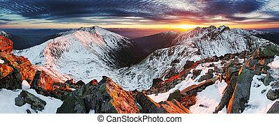 Winter mountain panorama landscape - sunset, Slovakia -...