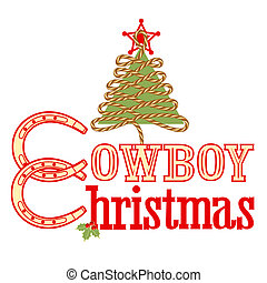 Cowboy Christmas text isolated on whiteVector illustration...