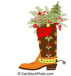Cowboy boot with Christmas elements isolated on white -...
