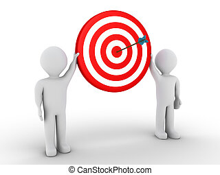 Two people holding target with arrow at the center