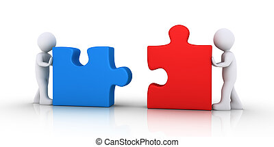 Two people join the puzzle pieces - Two 3d people are...