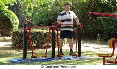 Man on outdoor air walker