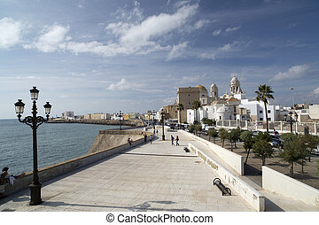 cadiz cathedral and sea front promenade