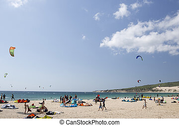 kite surfers in tarifa - a large beach filled with kite...
