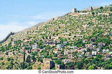 Turkish fortress in Alanya - Turkish settlement at the...
