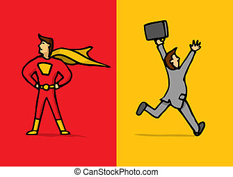Superhero versus coward - Brave superhero versus escaping...