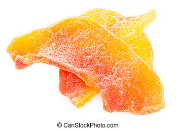 dried papaya slices on background - dried papaya slices on...