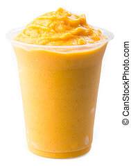 mango yogurt, milk shake isolated on white