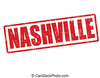 Nashville stamp - Nashville grunge rubber stamp on white,...