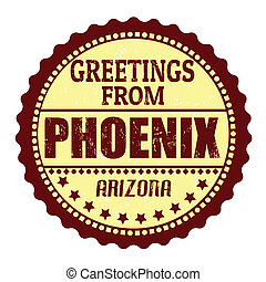 Greetings from Phoenix label - Label or rubber stamp with...