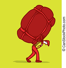 Carrying a heavy burden - Man carrying a huge backpack