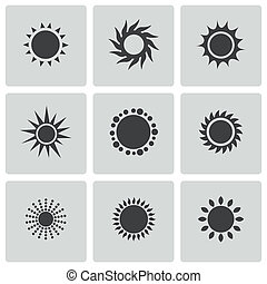 Vector black sun icons set