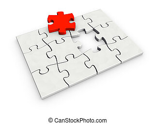 incomplete puzzle - An isolated incomplete puzzle with last...