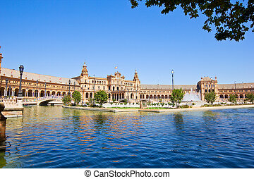 Plaza de España at summer day, Seville, Spain - Plaza de...