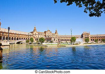 Plaza de España at summer day, Seville, Spain - Plaza de...