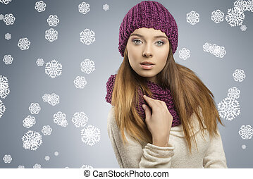 pretty girl with fashion winter clothes